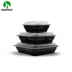 8 Inch 3 Compartments Square Hot Food To Go PP Container