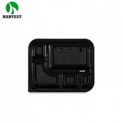 Disposable black plastic 5 compartments ps bento lunch box