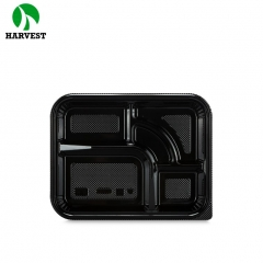 Disposable takeaway clear black plastic compartments food container
