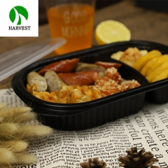 To Go Disposable 2 Compartments Plastic Food Containers For Catering Packaging