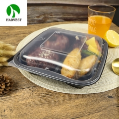 9 Inch 3 Compartments Square Hot Food To Go PP Container