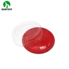 Transparent lid and red base round clear plastic packaging box for cake