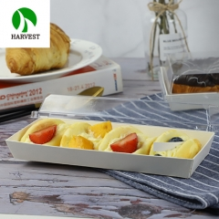 PR-02 Rectangular Cardboard Paper Tray With Plastic Lid
