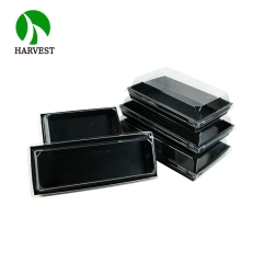 "PR-750 8""x5"" Disposable Cardboard Paper Tray With Plastic Lid"