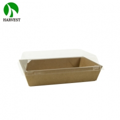 "PR-500 7""x5"" Disposable Cardboard Paper Tray With Plastic Lid"