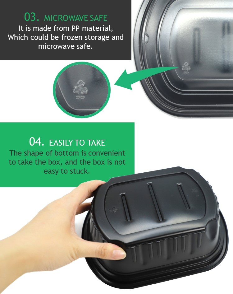 The shape of design is easy to take. the disposable food container is suitable for restaurant food takeaway.