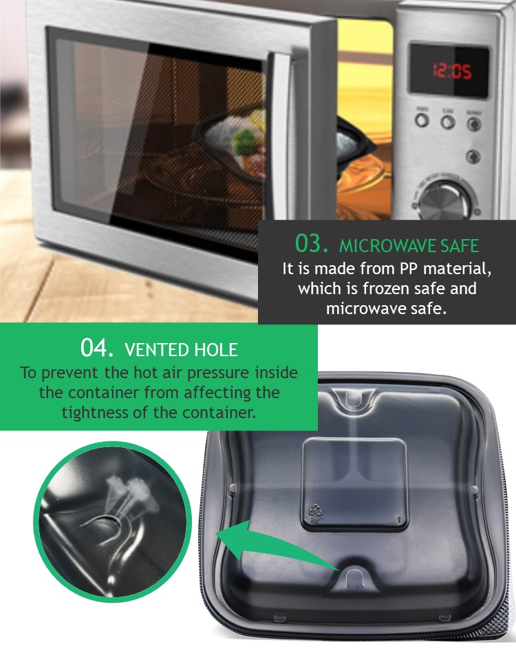 it is made from Polypropylene (PP) material, it is microwave safe. It is convenient for you to reheat food by microwave before eating.