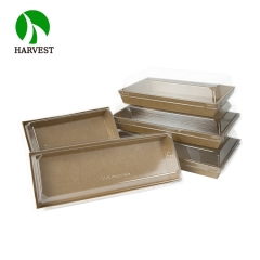 PR-07 Disposable Cardboard Paper Sushi Tray With Plastic Lid